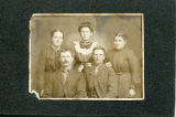 Three women and two men studio pose (unidentified)